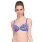 Neon Blue Push Up Bra With Plunge Neckline & Detachable Straps