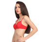 Padded Balconette Bra In Red With Demi Cups