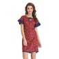 Printed Babydoll with Contrast Frills - Maroon