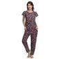 Printed Bell Sleeve Top And Pyjama Set-Black