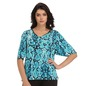 Printed Bell Sleeve Top In Blue