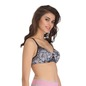 Printed Light Padded Wirefree Demi Cup T-Shirt Bra - Grey