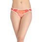 Printed Mid Waist Bikini With Powernet Side Wings - Orange