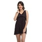 Printed Frilled Short Nightdress - Black