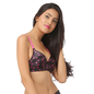 Push Up Demi Cup Wirefree Printed Bra With Detachable Straps - Black