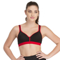 Padded Sports Bra In Black With Red Trims & Broad Elastic