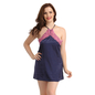 Satin Babydoll With Cross Back Straps - Navy Blue