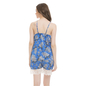 Satin & Lace Printed Top & Shorts Nightsuit - Blue