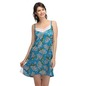 Satin Printed Babydoll With Lacy Neck - Blue