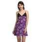 Satin Printed Lacy Cup Babydoll - Purple