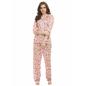 Satin Printed Night Shirt & Full Length Pyjama - Pink