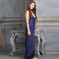 Full Length Satin Nighty With Lace Work - Blue