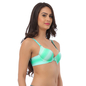 Sea Green Push Up Bra With Detachable Straps & Laser Cut Finish