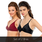 Set Of 2 Bras In Maroon & Black