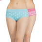 Set of 2 Multi-coloured Cotton High Waist Hipsters