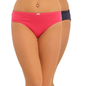 Set of 2 Cotton Mid Waist Bikini - Pink & Blue