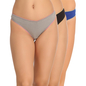 Set of 3 Cotton Low Waist Thongs - Grey, Black & Blue