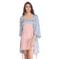 Satin Printed Short Nighty with Robe - Pink