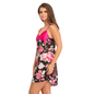 Short Satin Robe And Nightdress Set In Floral Black Print