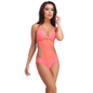 Orange Polyamide Monokini Swimsuit With Jacquard Stripes