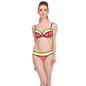2 Pc Polyamide Swimsuit of Balconette Bra & Bikini In Red