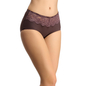 Polyamide & Lace Hipster In Dark Brown