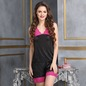 Sultry Satin Nightwear Set In Black and Hot Pink_1