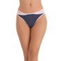 Thong In Navy With Contrast Lacy Waistband