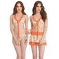 3 Pc Polyamide Skirted & Bikini Swimsuit in Orange