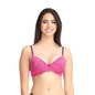 Underwired Padded Push-up Demi Cup Bra - Pink