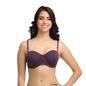 Underwire Push-up Demi Cup T-shirt Bra with Detachable Straps - Purple