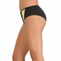Yellow Cotton Spandex Bikini With Contrast Fabric In Front