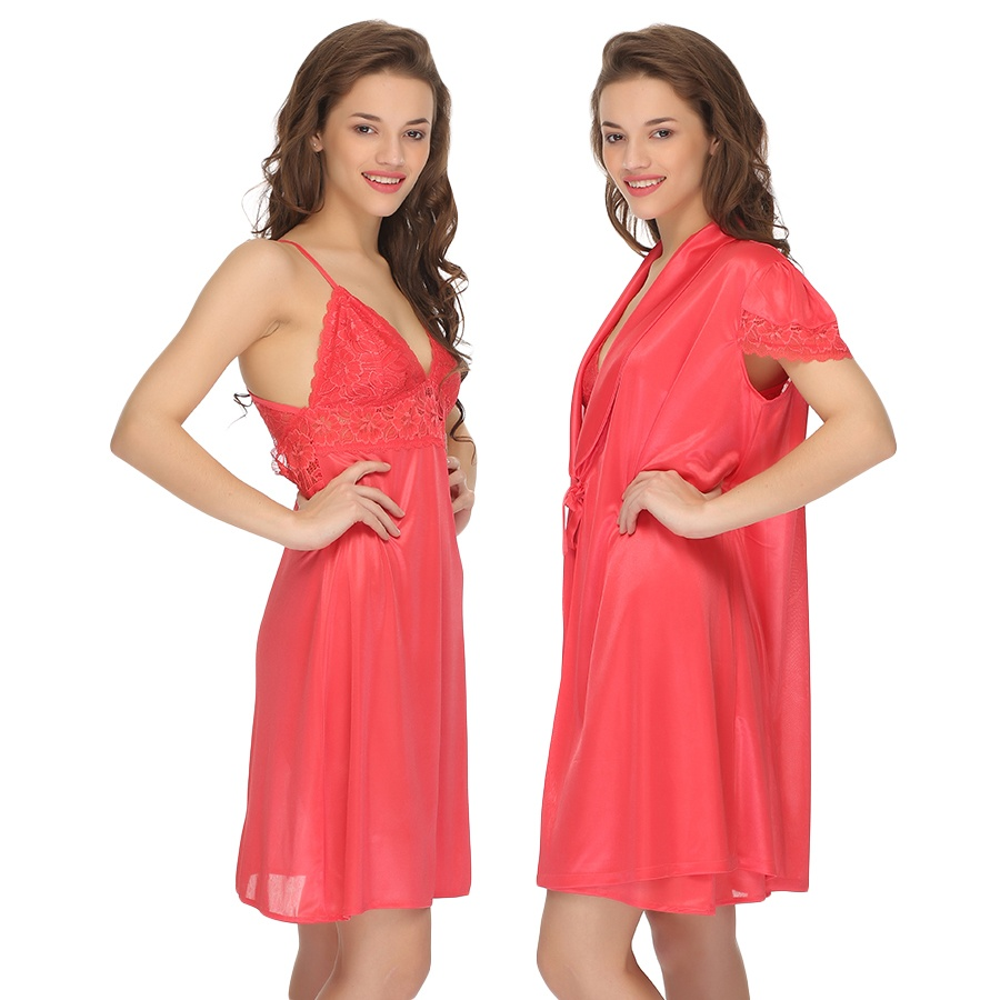 2 Pc Premium Satin Nightwear in Peach with Lace