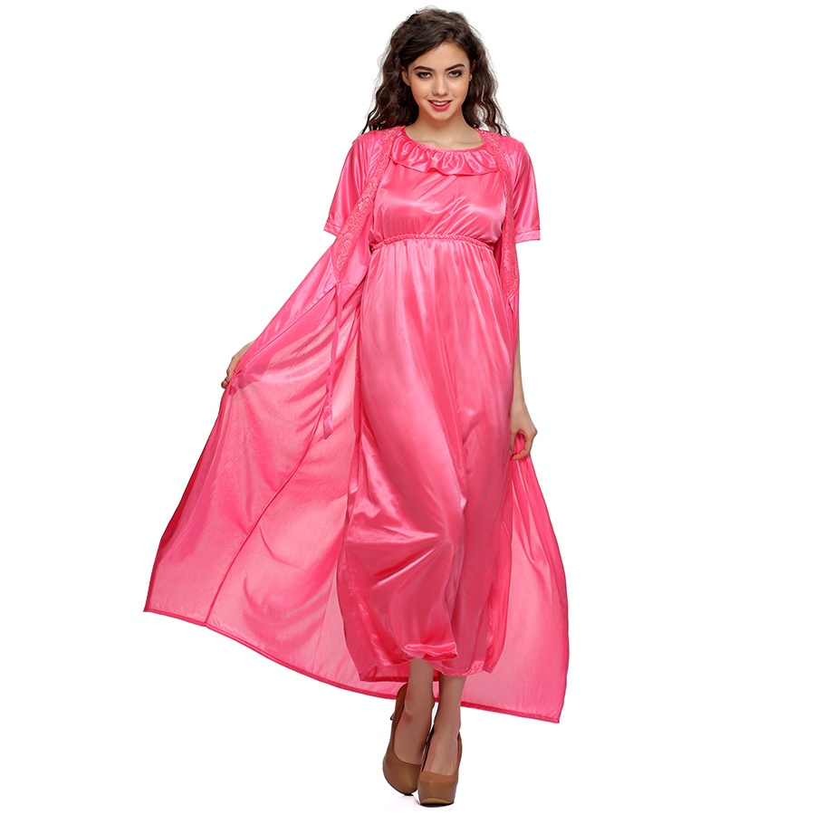 2 PCS SATIN NIGHTWEAR SET IN Pink- LONG ROBE & NIGHTIE