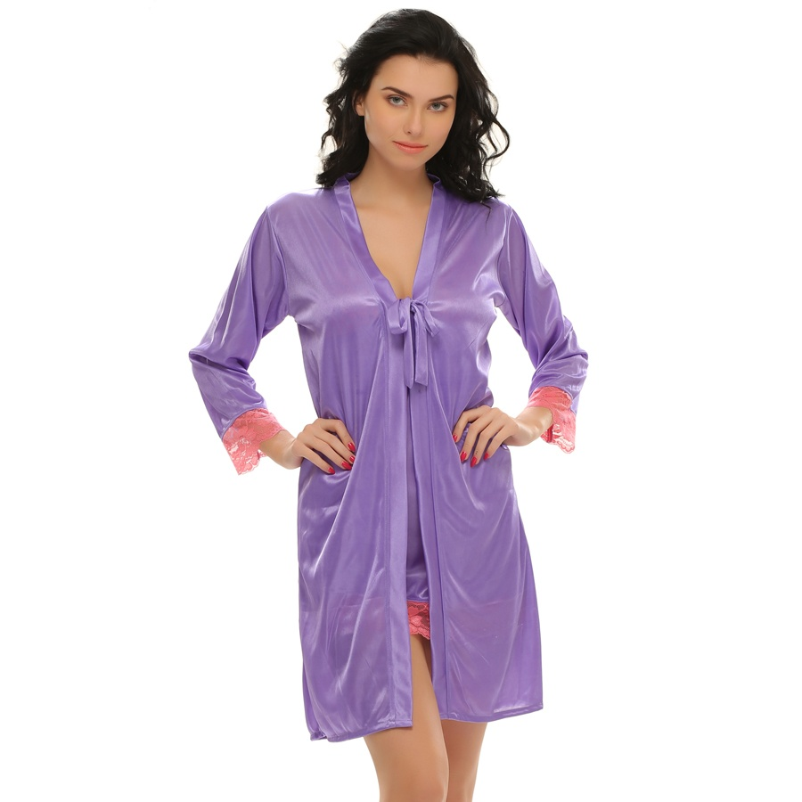 2 Pcs Short Robe & Nightie Set