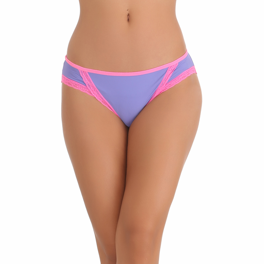 Cotton Spandex Bikini In Light Purple With Contrast Lacy Trims