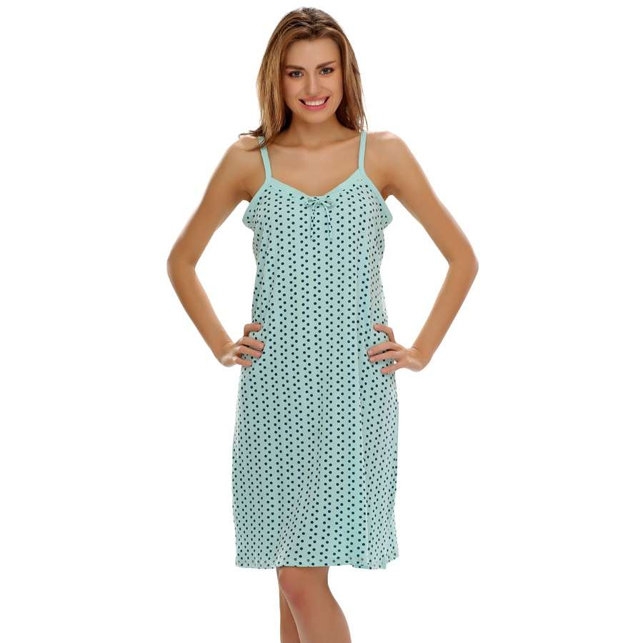 Blue Spaghetti Short Nighty with Polka Dots