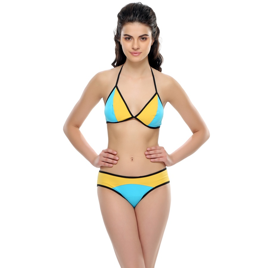 Sexy Beach Bra Brief Set in Turquoise And Yellow