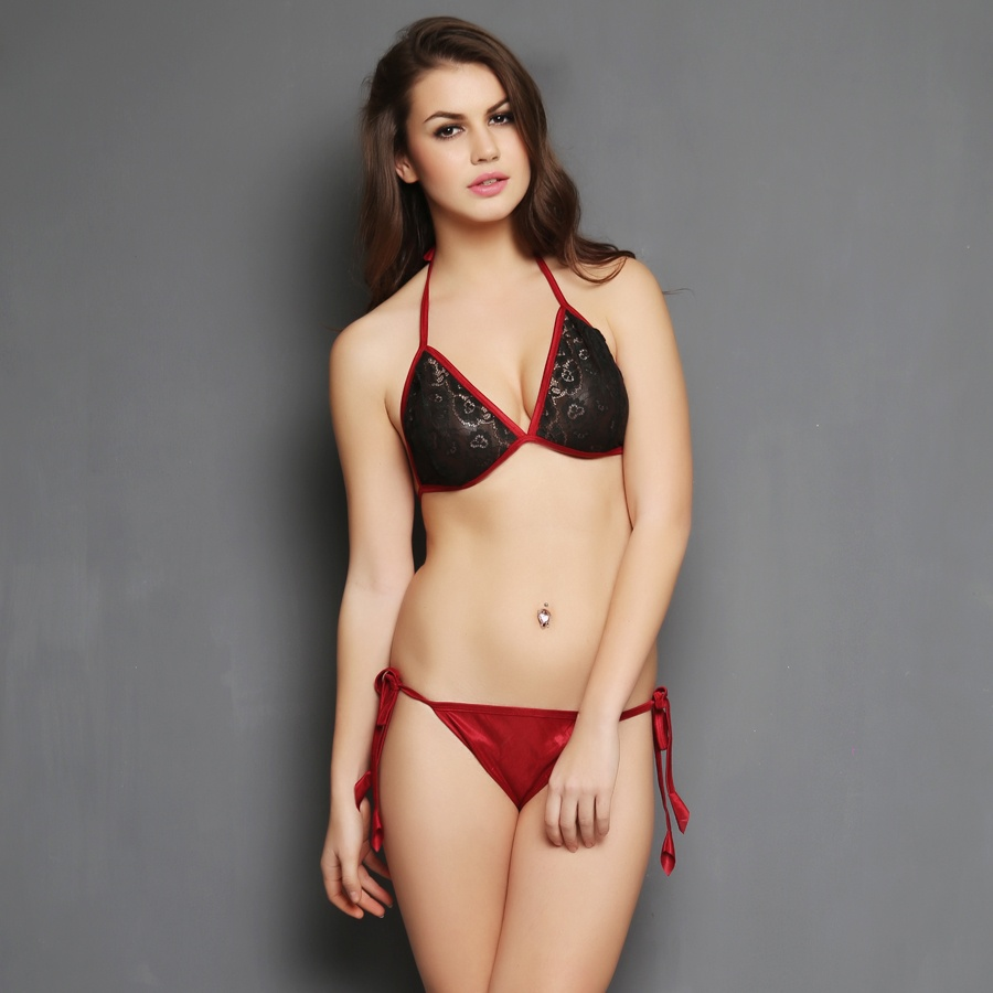 Bra Brief Set in Maroon