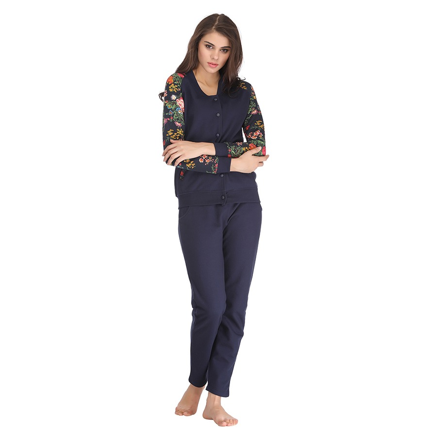 Button-Up Fleece Top & Pyjama Set in Printed Full Sleeves - Blue