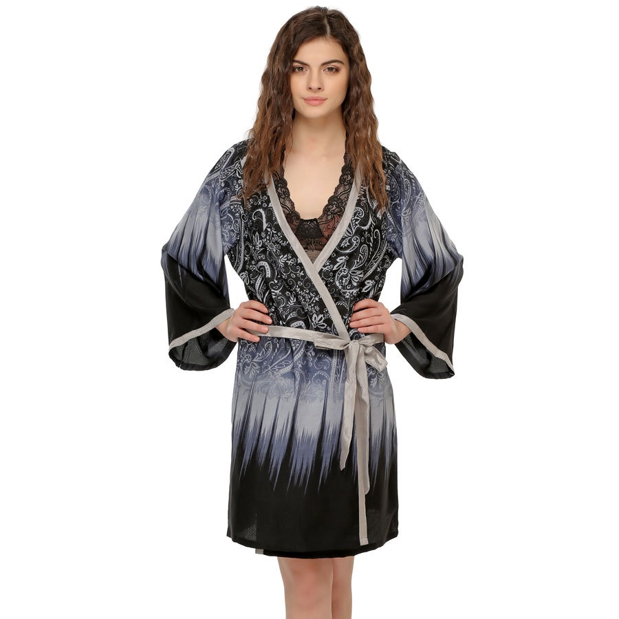 Classic Floral Printed Robe In Navy