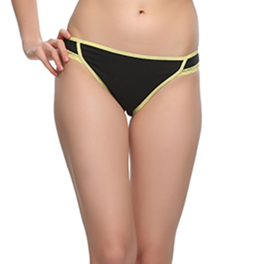 Cotton, Lace & Spandex Bikini In Yellow