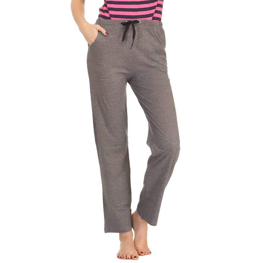 Cotton Striped Pyjama With Solid Waist Band - Charcoal