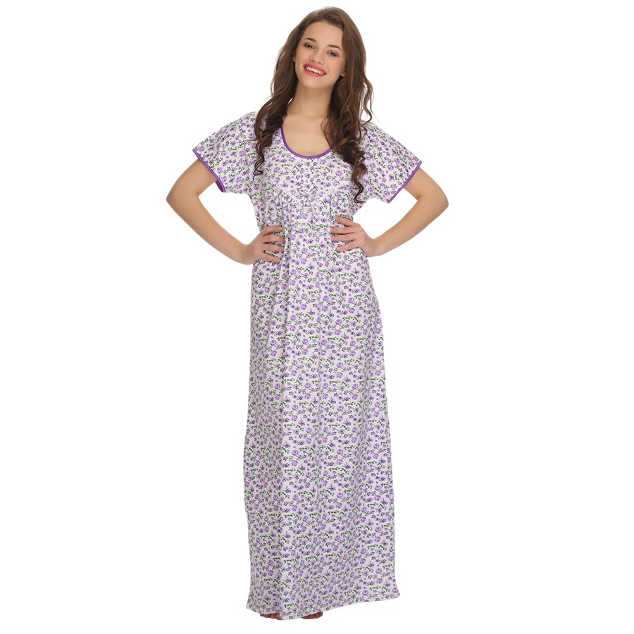 Cotton Comfy Full Length Dress In Lavender