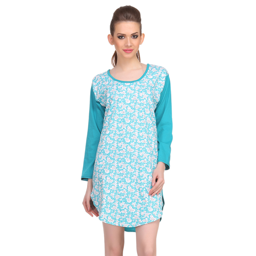 Cotton Comfy Nightdress In Turquoise
