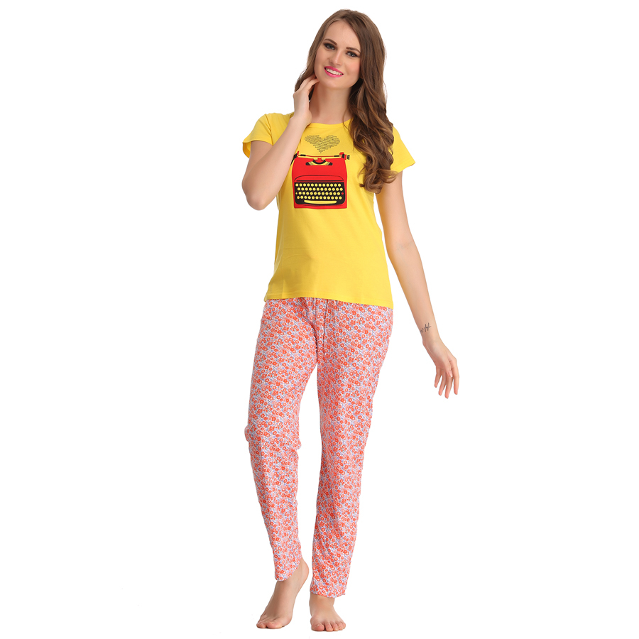 Cotton Graphic T-shirt & Printed Pyjamas In Yellow & Orange