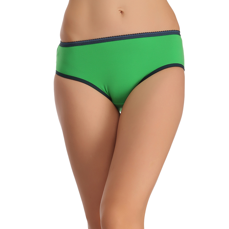 Cotton Mid Waist Bikini With Contrast Elastic Band - Green