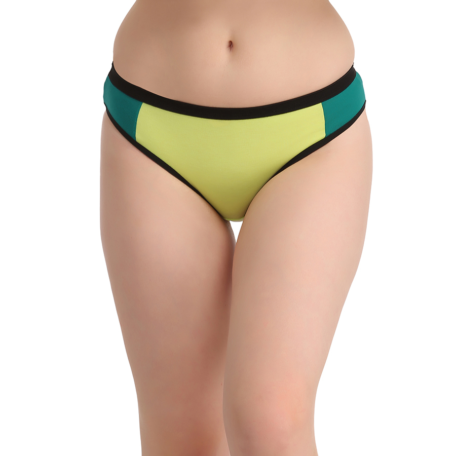 Cotton Mid Waist Colour Block Bikini - Green