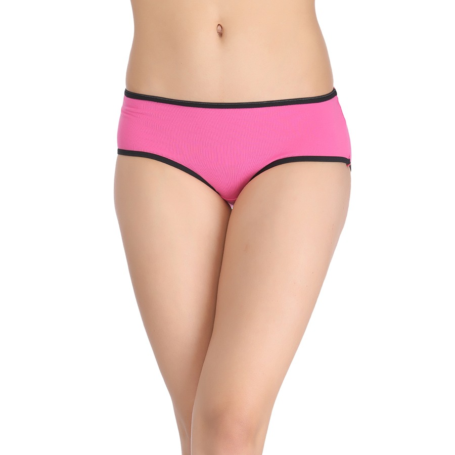 Cotton Mid Waist Hipster With Contrast Elastic Band - Pink
