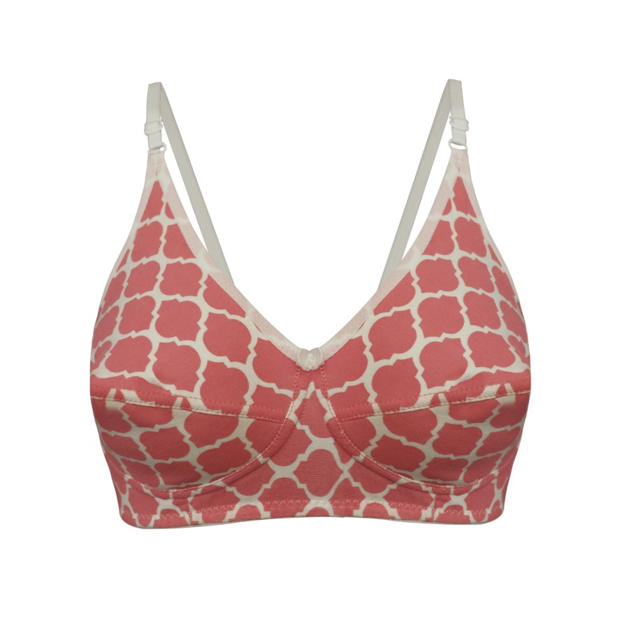 Cotton Non-Padded Full Cup Printed Bra - Pink